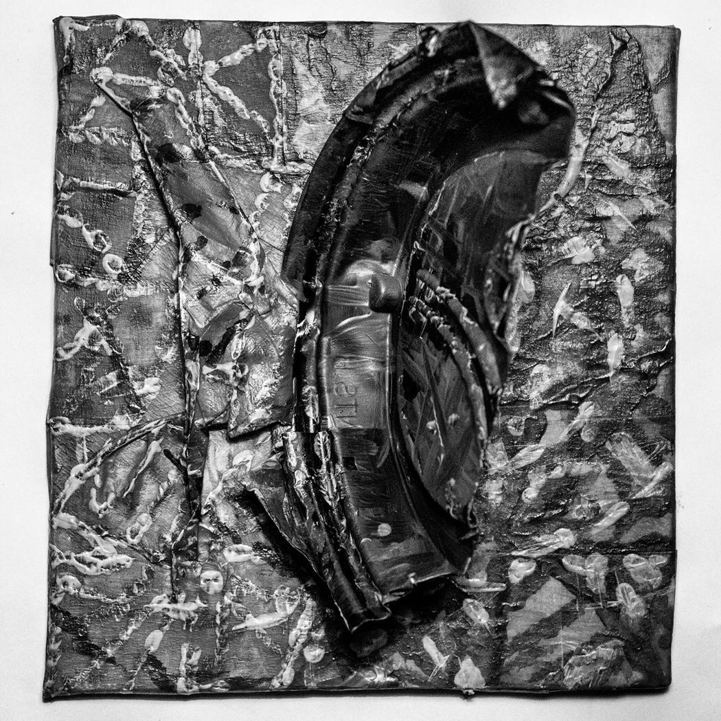 "Monochrome Manifestation, Mixed media, 5×4.5"""